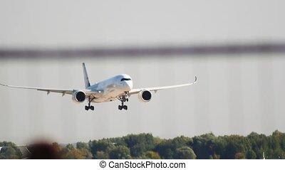 Big passenger plane landing on the runway