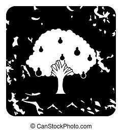 Big pear tree icon, grunge style - Big pear tree icon....