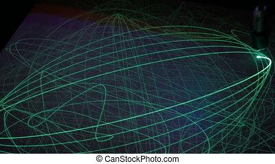 Big pendulum draws with light on phosphorus surface - Big...