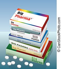 A pile of medicine packets named BIG PHARMA. It is a medical fake product. Vector illustration.
