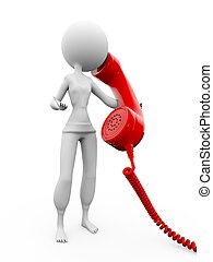 Big phone - 3d human talk with big phone