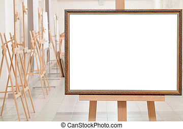big picture frame on easel in gallery hall