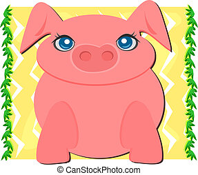 Big Pig in a Nature Frame