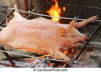 big pig on the spit