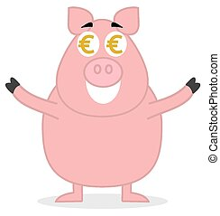 big pig standing like money