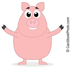 big pig standing open arms