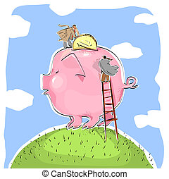 Big Piggy Bank - Two Men Putting Money Into The Piggy Bank