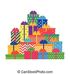Big pile gift boxes. Set of colorful presents. Vector illustration.