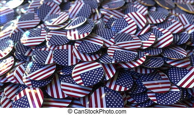 Big pile of badges featuring flags of the United States -...
