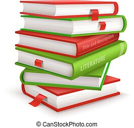 Big pile of books. Eps10 vector illustration. Isolated on white background