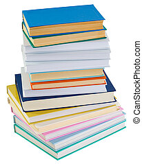 Big pile of books on a white background