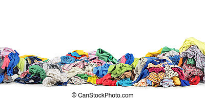 Big pile of clothes on a white background