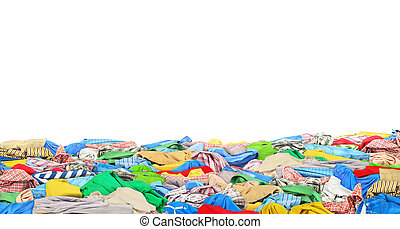 Big pile of clothes on white background