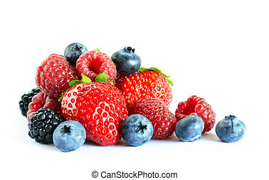 Big Pile of Fresh Berries on the White