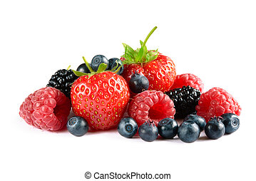 Big Pile of Fresh Berries on White Background