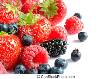 Big Pile of Fresh Ripe Sweet Berries on White Background