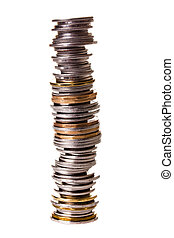 Big pile of little coins isolated on white