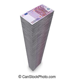 massive money pile of 500 Euro notes on white background