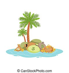 Big pile of money lying on a tropical island, offshore...