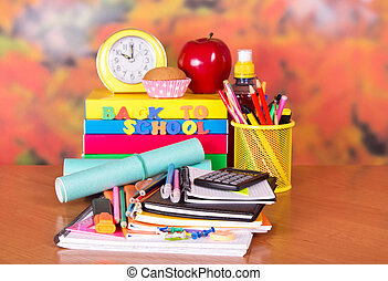 Big pile of school supplies - A set of school accessories, a...