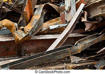 Big Pile Rusty Scrap Steel Girders Demolition Site - Pile of...
