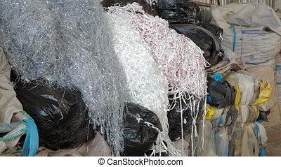 Big piles of garbage in waste dump