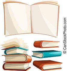Big piles set of books with open pages spread