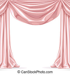 Big pink curtain isolated on a white background