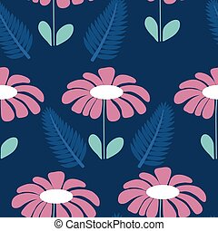 Big pink flowers and blue leaves, in a seamless pattern design