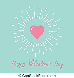 Big pink shining heart and word love. Flat design Happy Valentines day card