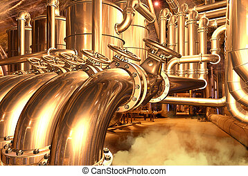 Big pipeline in the abstract refinery or in the brewery. ...