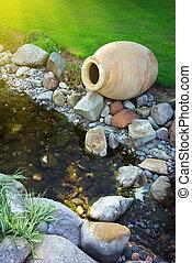 Big pitcher on river. Nature design.