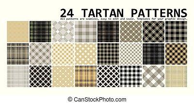 Big plaid pattern set. 24 seamless tartan patterns. Vector illustration