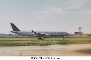 Big plane is preparing to take off.