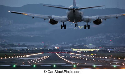 big plane landing during the blue hour