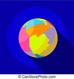 Big planet icon, flat style