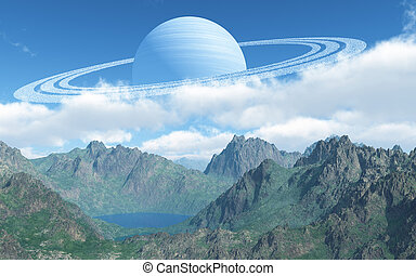 Big Planet - This image shows a landscape with gas-giant