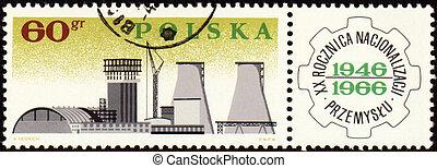 Big plant on post stamp - POLAND - CIRCA 1966: a stamp...