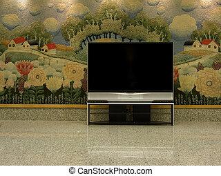 big plasma tv with empty space to  write