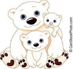 Big Polar Bear Family - Illustration of Mommy and Daddy...