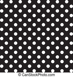 Large white polka dots seamless pattern on black background for albums, scrapbooks, decorating, arts, crafts. EPS includes pattern swatch that will seamlessly fill any shape.