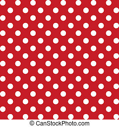 Large white polka dots seamless pattern on red background for albums, scrapbooks, decorating, arts, crafts. EPS includes pattern swatch that will seamlessly fill any shape.