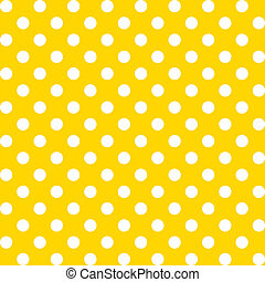 Large white polka dots seamless pattern on yellow background for albums, scrapbooks, decorating, arts, crafts. EPS includes pattern swatch that will seamlessly fill any shape.