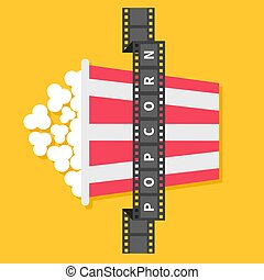 Big Popcorn. Film strip ribbon line with text. Red white box. Cinema movie night icon in flat design style. Yellow background.