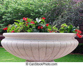 Large concrete flower pot