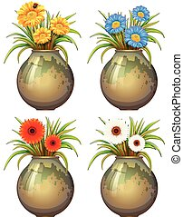 Big pots with flowers