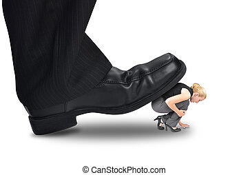 Big Power Boss Stepping on Little Employee - A big corporate...