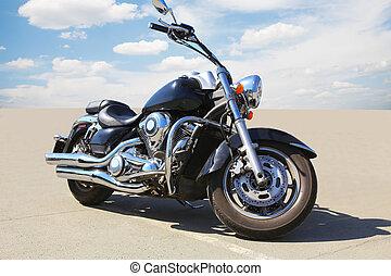 motorcycle on asphalt - big powerful motorcycle on asphalt...
