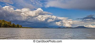 Big powerful storm clouds over the Lake Balaton of Hungary