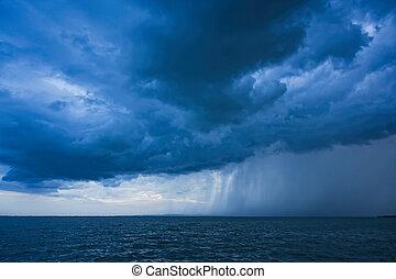 Big powerful storm clouds over tke Lake Balaton of Hungary